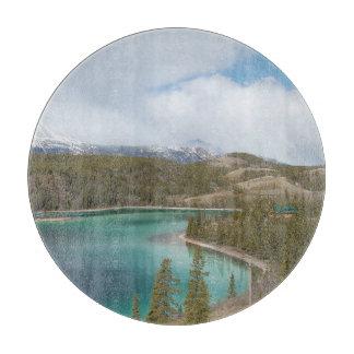 round glass cut board Emerald Lake