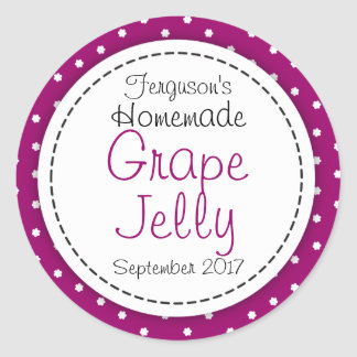 Round Grape jelly / jam purple jar food label