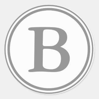 Round Grey & White Envelope Seals with Monogram Round Sticker