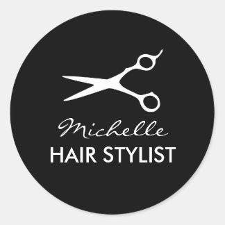 Round hairdresser stickers for hair stylist