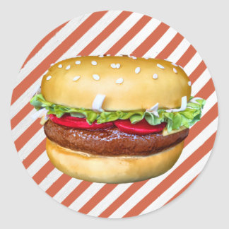 Round Hamburger Cake Round Sticker