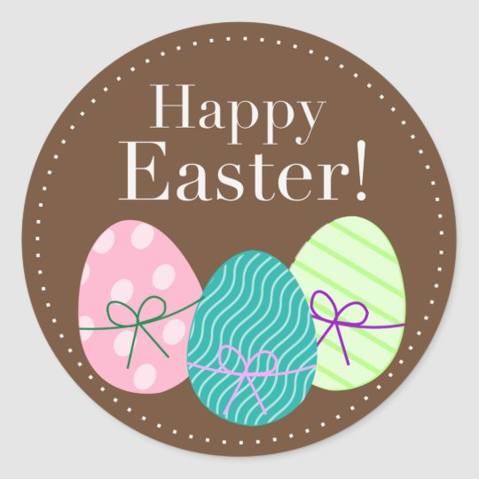 Round Happy Easter Egg Sticker