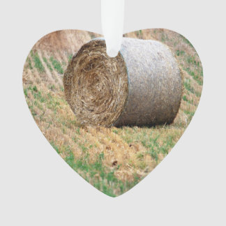 Round Hay Bale in Field Ornament