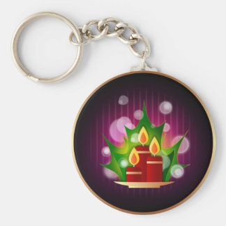 Round Holiday Candles Key Chain