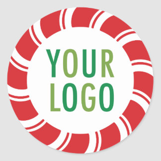 Round Holiday Stickers with Custom Logo Candy Cane