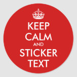Round KeepCalm Stickers | Personalizable