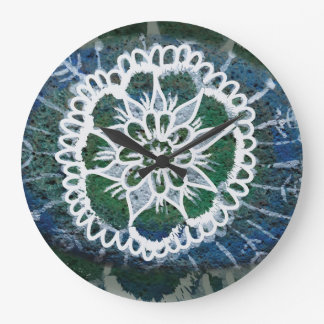 Round (Large) Wall Clock  Blue Mandala Edelweiss