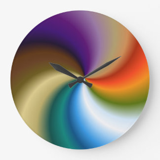 Round Large Wall Clock - Multi-color swirl
