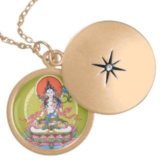 Round Locket Necklace - White Tara - Gold Finish