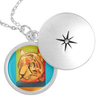 Round Locket, Silver Plated with Bold Tiger Design Round Locket Necklace