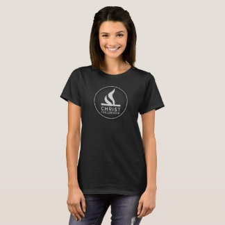 Round logo on women's dark shirt