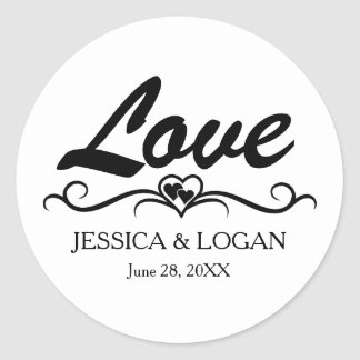 Round Love Sticker with Bride and Groom Names