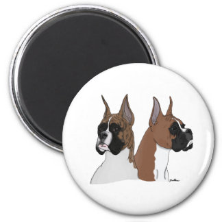 Round magnet with two boxer dogs
