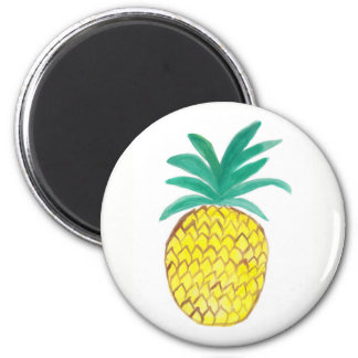 Round Magnet with Watercolor Painting Pineapple.