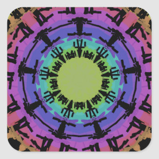 Round mandala fits on a square shape. square sticker