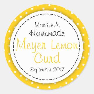 Round Meyer Lemon Curd jam jar food label