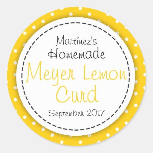 Round Meyer Lemon Curd jam jar food label Sticker