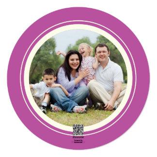 Round Modern Pink Snowflake Christmas Photo Card 13 Cm X 13 Cm Square Invitation Card