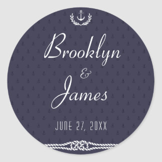 Round Nautical Wedding Stickers With Blue Anchors