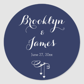 Round Navy Blue Wedding Stickers With Hearts