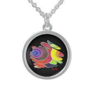 Round Necklace Rainbow Spirals on Black