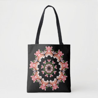 Round of Pink Roses on Black Tote Bag