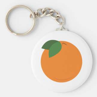 Round Orange Basic Round Button Key Ring