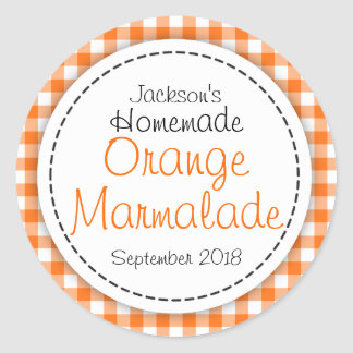 Round Orange Marmalade jam jar food label Round Sticker