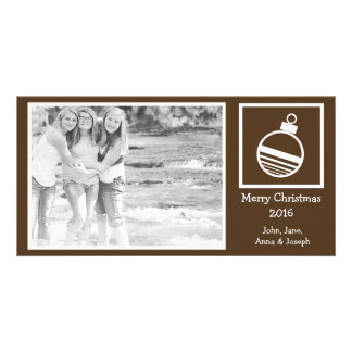 Round Ornament Christmas Photo Card (Brown)
