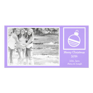 Round Ornament Christmas Photo Card (Violet)