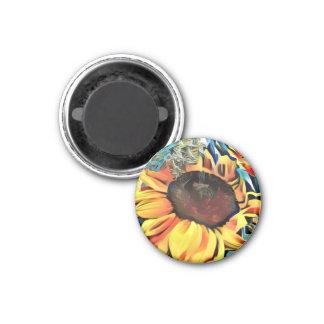 Round Pastel Sunflower Magnet
