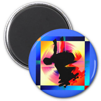 Round Peg in a Square Hole Skateboarding Fridge Magnets