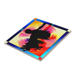 Round Peg in Square Hole Skateboarder Ceramic Tile