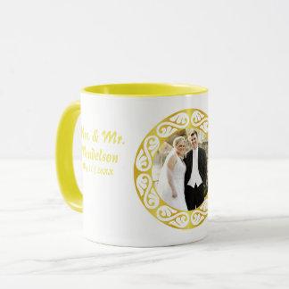 Round photo monogram mug