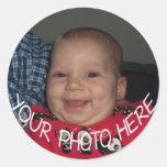 Round photo stickers make cute envelope seals!