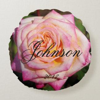 Round Pink Rose Round Cushion