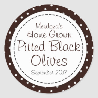 Round pitted black olives jam jar food label