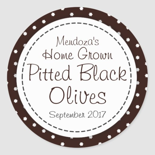 Round pitted black olives jam jar food label stickers