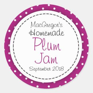 Round plum preserve or jam jar food label