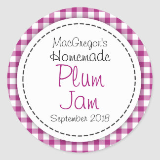 Round plum preserve or jam jar food label round sticker