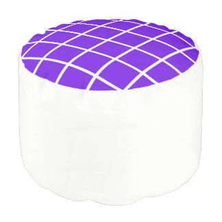 "Round pouf ""Grid"" - White and lavender"