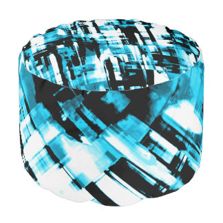Round Pouf Hot Blue Black abstract digitalart G253