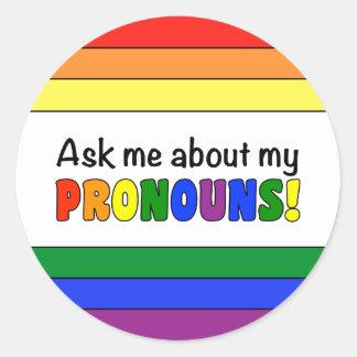 Round Pronouns Sticker (Rainbow)