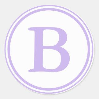 Round Purple & White Envelope Seals with Monogram Round Sticker