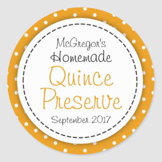 Round Quince preserve or jam jar food label