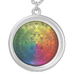 Round Rainbow Mayan Calendar Charm with Necklace