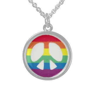 round rainbow peace sign necklace
