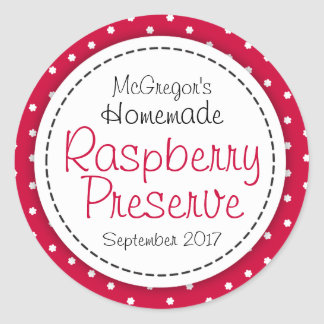 Round raspberry preserve or jam jar food label round sticker