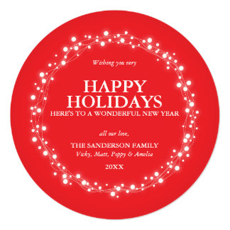 Round Red Sparkling Christmas Lights Holiday Card 13 Cm X 13 Cm Square Invitation Card