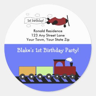 Round Return Address Label Planes & Trains Round Sticker